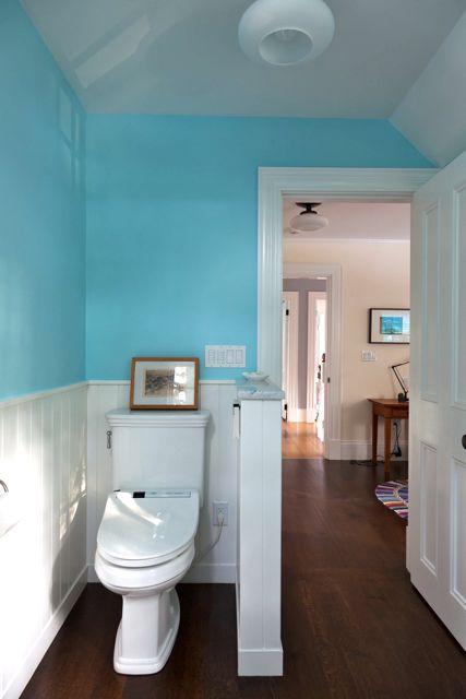 bath 1 toilet view with pony wall by bath simple - Pony Wall