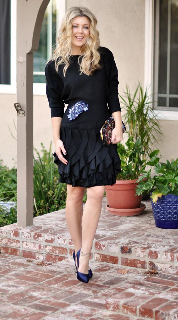 Vintage Black Dress- Blue Satin Shoes-vintage Beaded Bag-bu2026 | Flickr