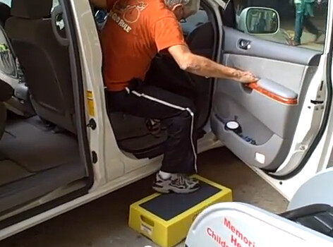 A Post Surgical Patient Uses A Senior Step Stool For Him