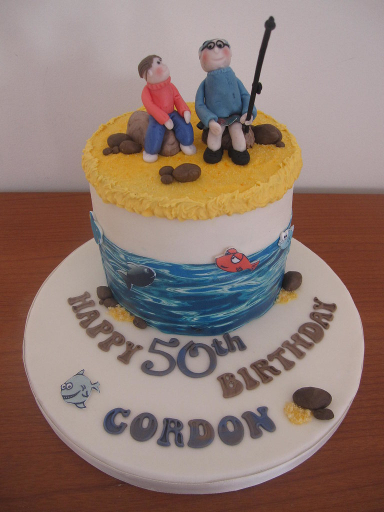 Father and son fishing cake 50th birthday cake for a man ...