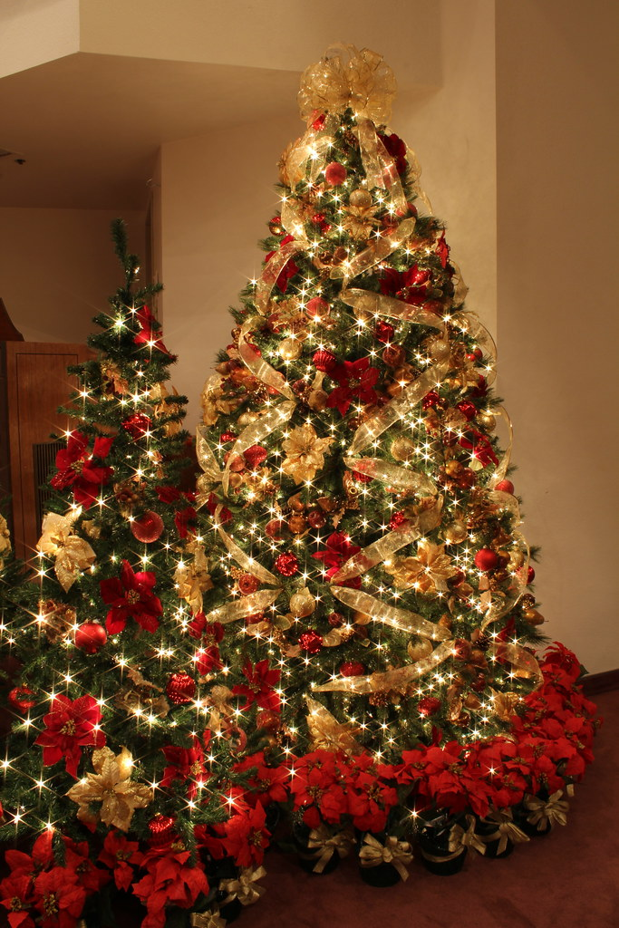 red and gold christmas tree with jeweled fruit by mastery of maps