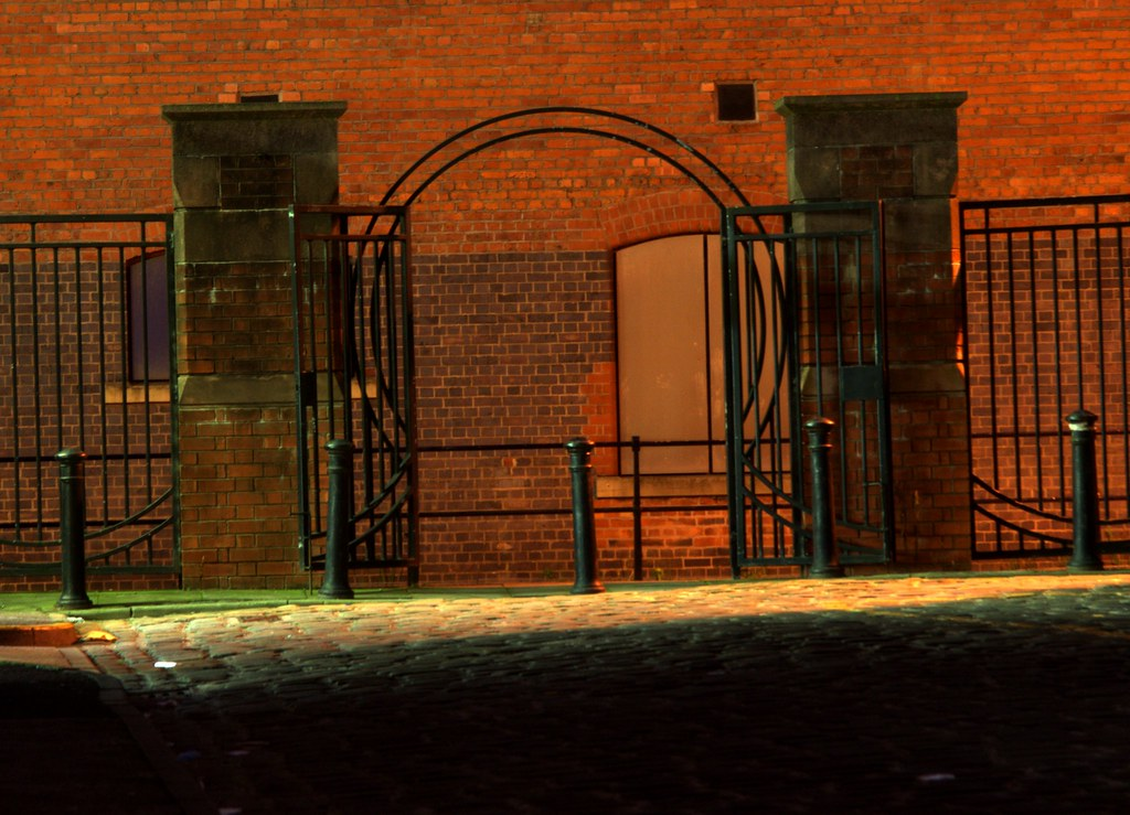 Wrought iron canal gates onto the in