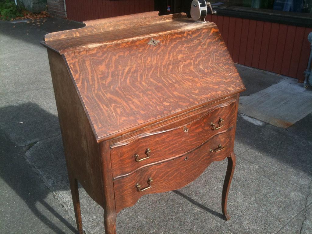 Antique Oak Drop Front Desk 30 Inches Wide X 18 Inches