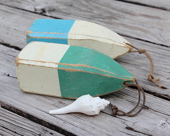 Green Lobster Buoy Beach Decor Vintage Nautical Wooden By