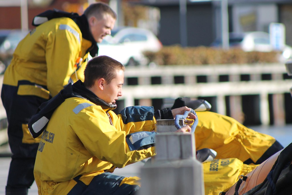 Firemen near the harbor
