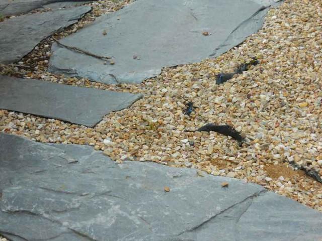suelo de pizarra y grava sobre malla antihierbas suelo
