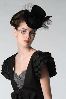 formal-hairstyle-feathered-hat | by vanmobilehair