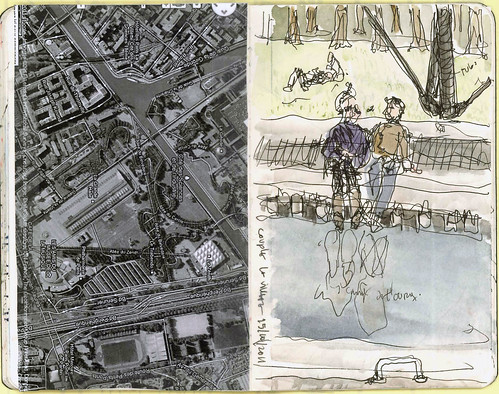 PlanLaVillette&CoupleCanaldeL-Ourq (33rd SketchCrawl) | by artecollage
