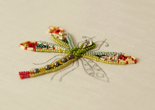 Dragonfly Bead Embroidery in Progress | by Elsita (Elsa Mora)