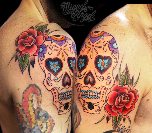 Sugar skull and roses tattoo | Miguel Angel Custom Tattoo ...