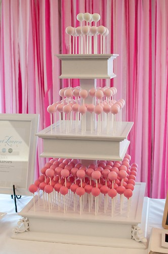 Bridal Show Cake Pops Shown here with our 3-tier white ...