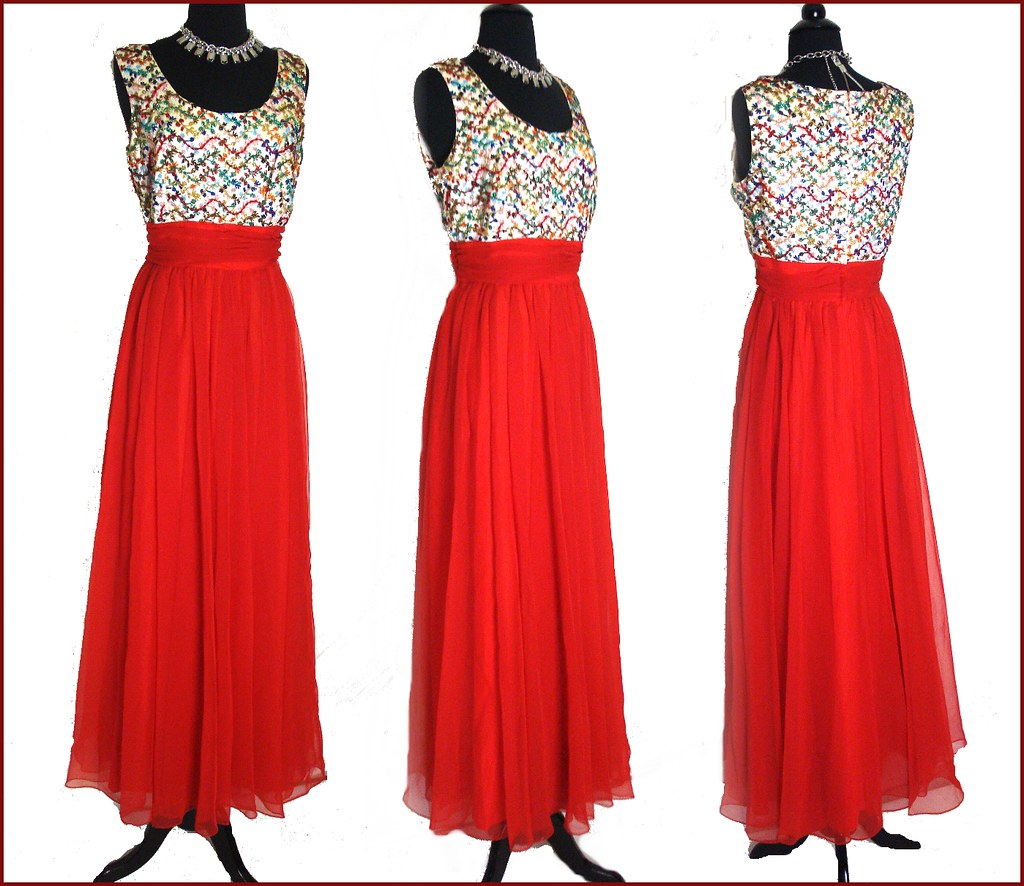Vintage 1950s 1960s Red Beaded Gown Dress Chiffon Designer Flickr