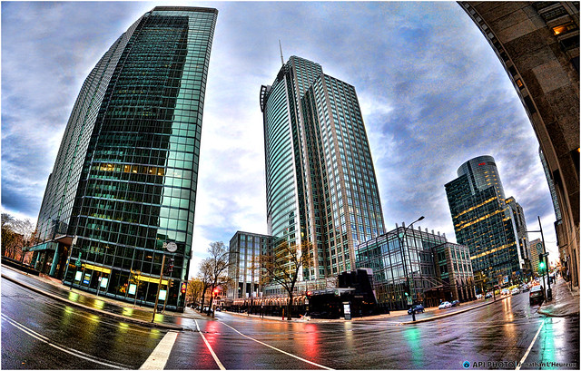 Downtown of montreal fisheye effect flickr photo sharing for Fish eye effect