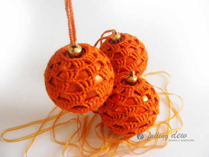 sale 3 crocheted baubles in orange colour christmas decorations by fallingdew - Orange Coloured Christmas Tree Decorations