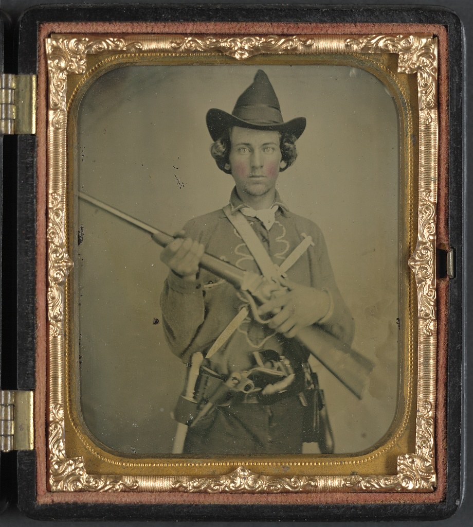 Unidentified Cavalry Soldier In Confederate Uniform With
