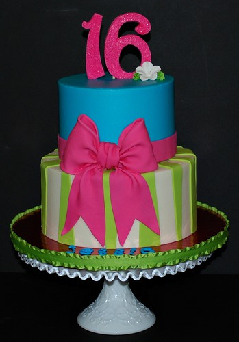 Bow Amp Stripe Sweet 16 Birthday Cake This Cake Was For My