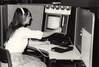 Student at videocassette player in the M.D. Anderson Library | by University of Houston Digital Library
