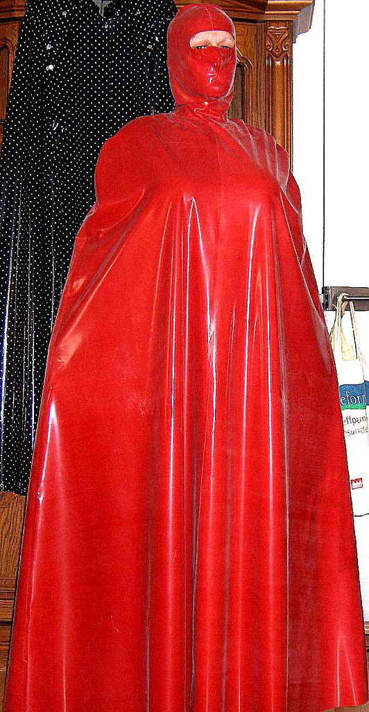 New Shiny Red Latex Cape2 Want To Go Shopping Or Walking