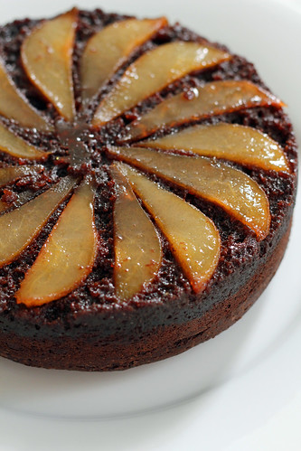 upside-down pear chocolate cake | by awhiskandaspoon