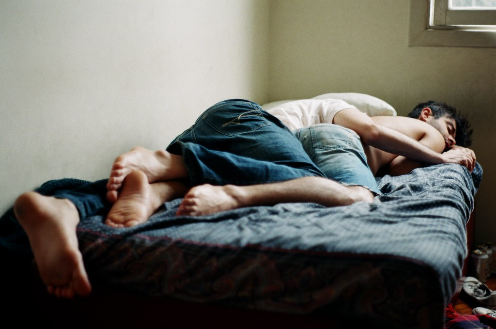 Gay boy men sleeping sleepy movie night 1