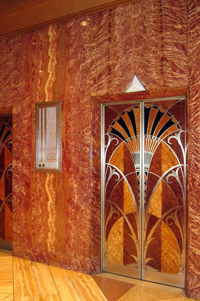 Nyc midtown chrysler building elevator hall the for Chrysler building ceiling mural
