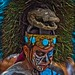 portrait of a Mayan warrior with his face painted(street performers)-mexico city-mexico