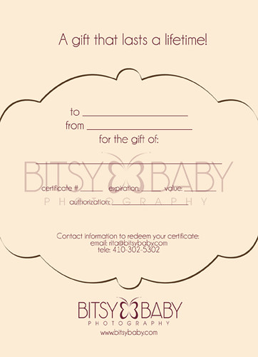 Photography Gift Certificate | by Bitsy Baby Photography [Rita]