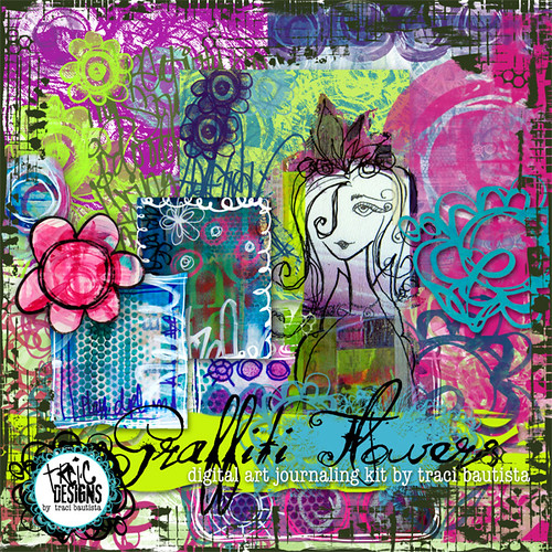 graffiti flowers digital art journaling kit by traci bautista | by treiCdesigns