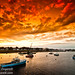 Green Harbour, Cape Cod, Massachussets. View of the harbour ar sunset