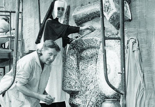 Louisa Jenkins and assistant working on the Sophia mosaic on Brennan Hall | by Holy Names University