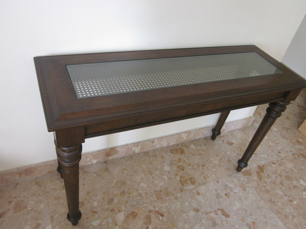 Console table 48 x 17 x 30 h inches rattan glass cen for Sofa table 48 inches