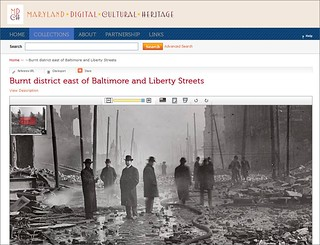 MDCH.org screen sample: Burnt district east of Baltimore and Liberty Streets After the Baltimore Fire | by Enoch Pratt Free Library