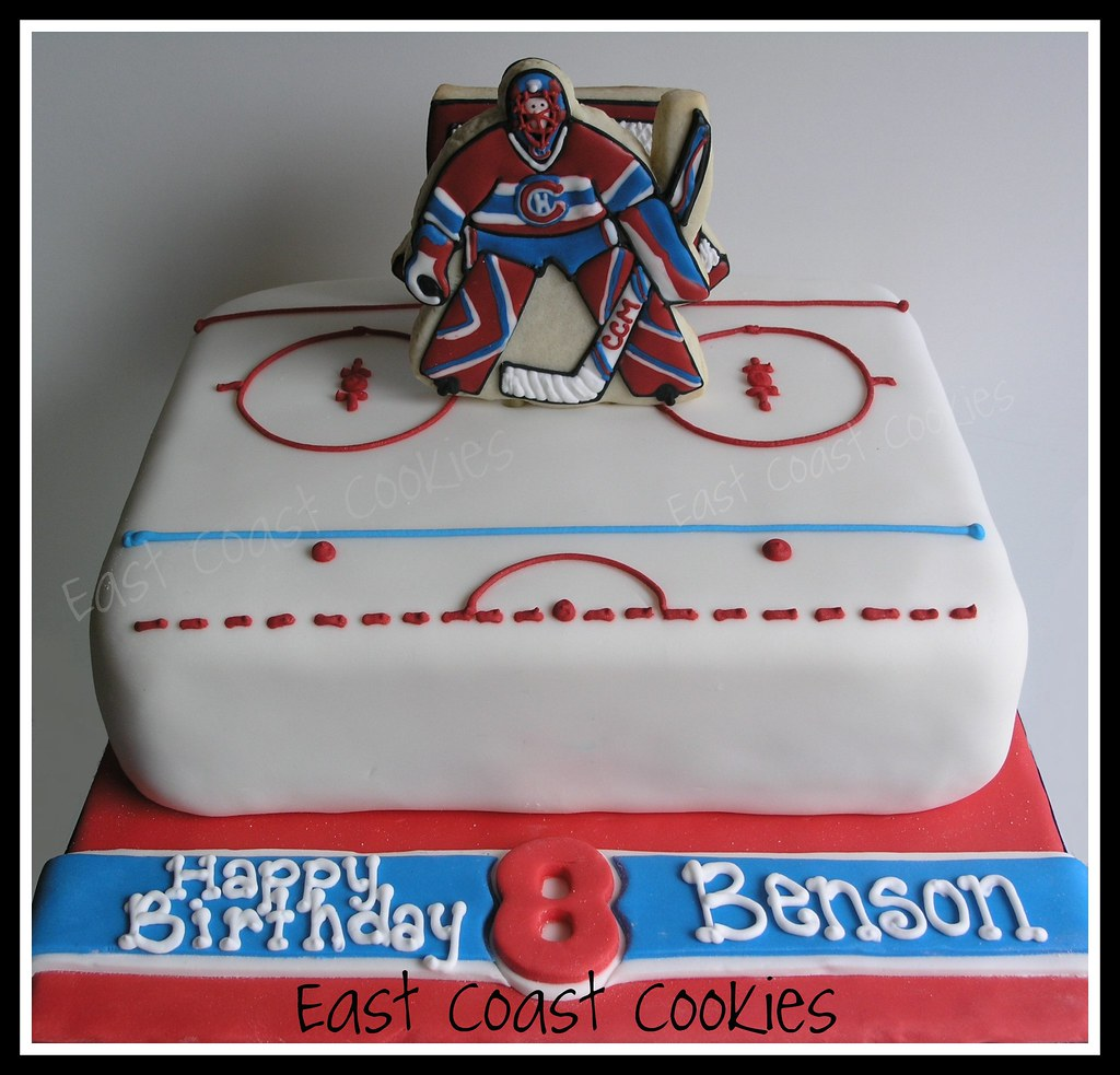 Cake Decorating Store Nj : Goalie (Hockey) Cake with decorated cookies. Birthday cake? Flickr