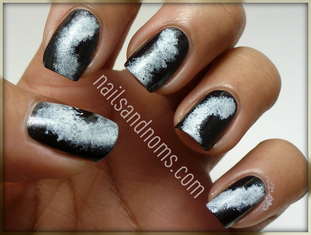 Tutorial: Galaxy Nails   Sponged on French White Creme   Flickr