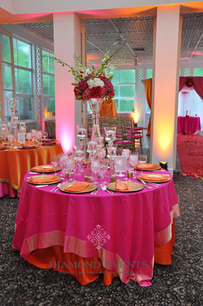 Tablescape In Pink Orange Amp Gold Diamond Events