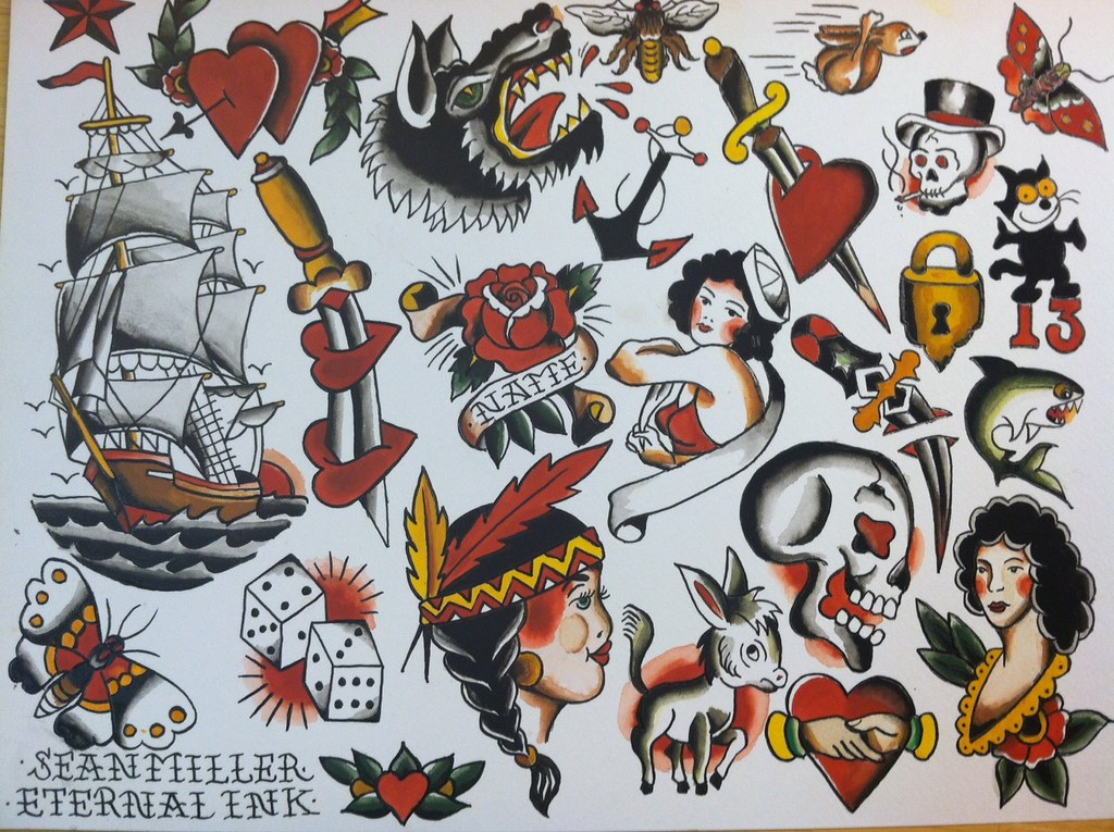 Traditional Tattoo Flash Watercolor Ink Painting The Orig Flickr