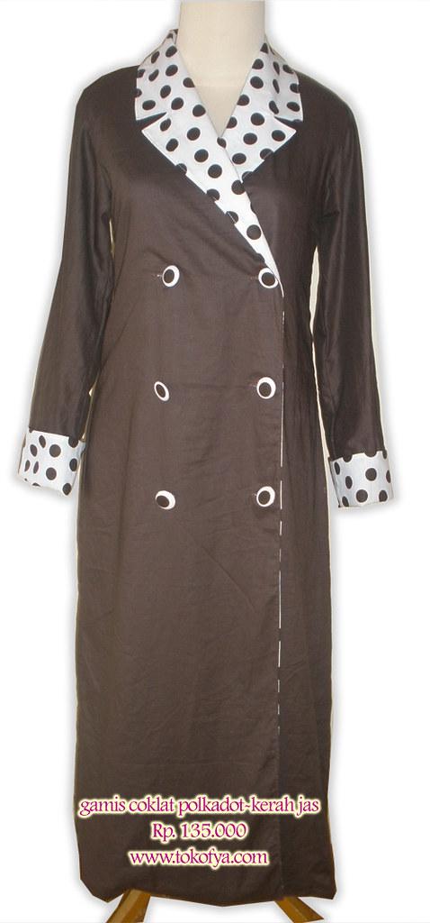 Gamis Remaja Coklat Polkadot Gamis Model Mantel Ini