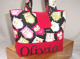 Red Owl Personalize Children Handbag | by Sew Little Ones