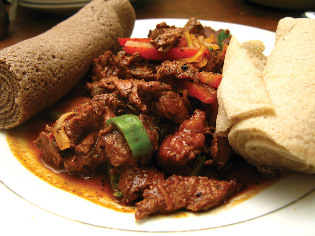 Special tibs (marinated beef) with injera | Location: Addis ...