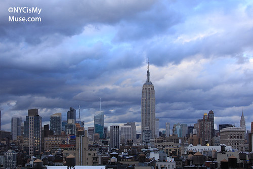 Empire State Building, skyline with massive late afternoon clouds | by NYCisMyMuse