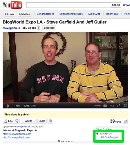 As Seen On Off On A Tangent - BlogWorld Expo LA - Steve Garfield And Jeff Cutler - YouTube | by stevegarfield
