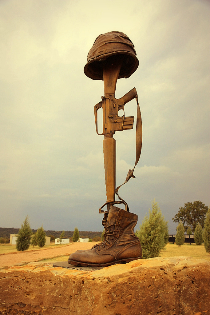 Fallen Soldiers Cross Boots Rifle Helmet And Bayonet T Flickr