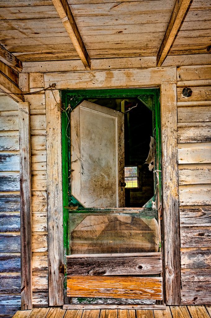 Old Screen Door Old Doorway In An Abandoned House Near