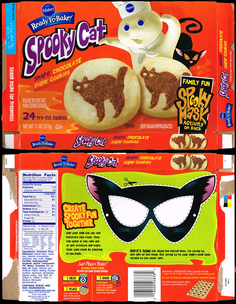 pillsbury ready to bake spooky cat shape sugar cookies cookie box