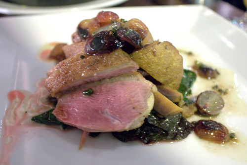 wong long island duck breast, niagara grape, coconut vinegar sauce, collard greens, squash | by goodiesfirst