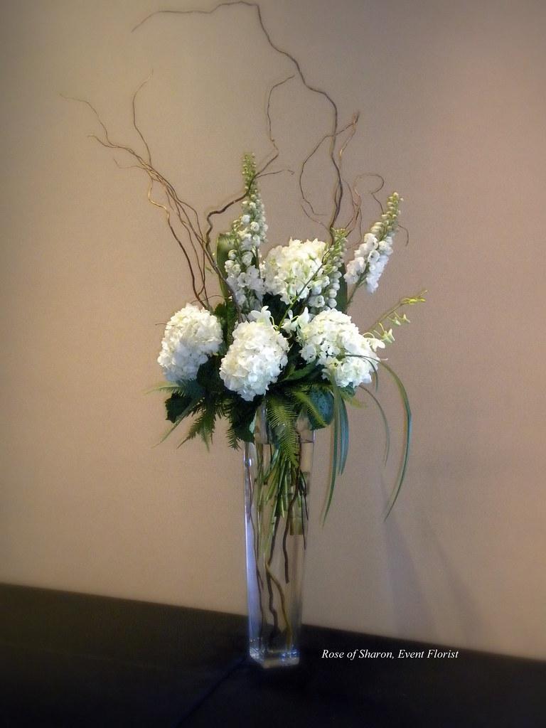Arrangement Hydrangea Delphinium Amp Curly Willow Rose