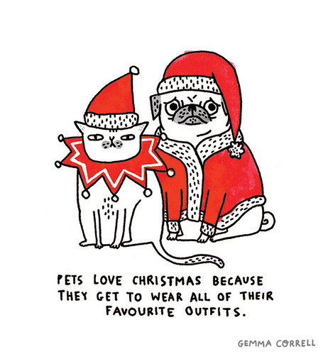 pets love christmas card | by gemma correll