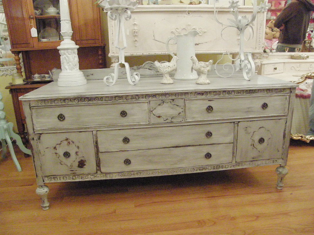 Fab Antique Buffet Tv Stand Shabby Chic Distressed Grey Wh Flickr