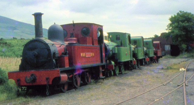Isle of Man Railway - Engines on exhibition at St Johns on the 5th July 1968.  From the front - M.N.R. No.4 Caledonia, No. 16 Mannin, No. 6 Peveril, No. 1 Sutherland and M.N.R. No. 3 Thornhill.