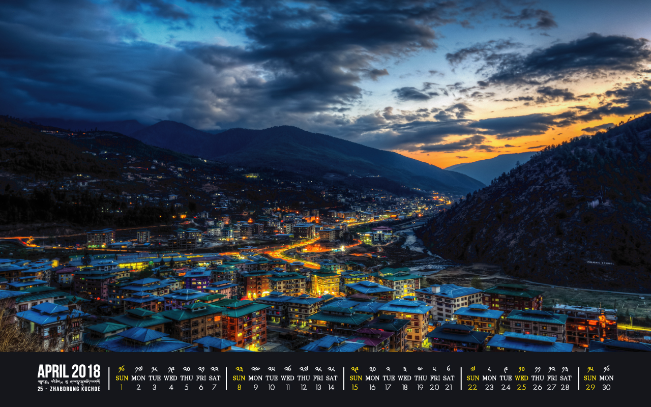 Thimphu, Bhutan - Calendar April 2018